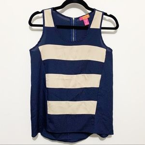 Catch my I navy and cream striped tank top blouse